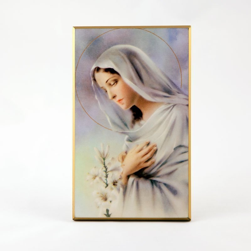 laminated plaque - virgin with lily