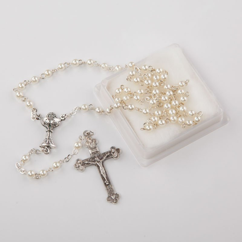 First Communion rosary white imitation pearl