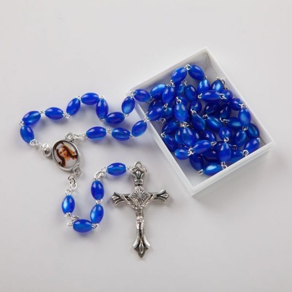 Chapelet acrylique bleu