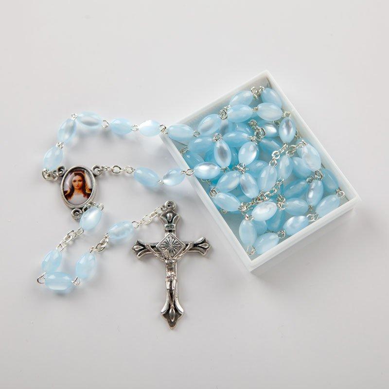 light blue acrylic rosary