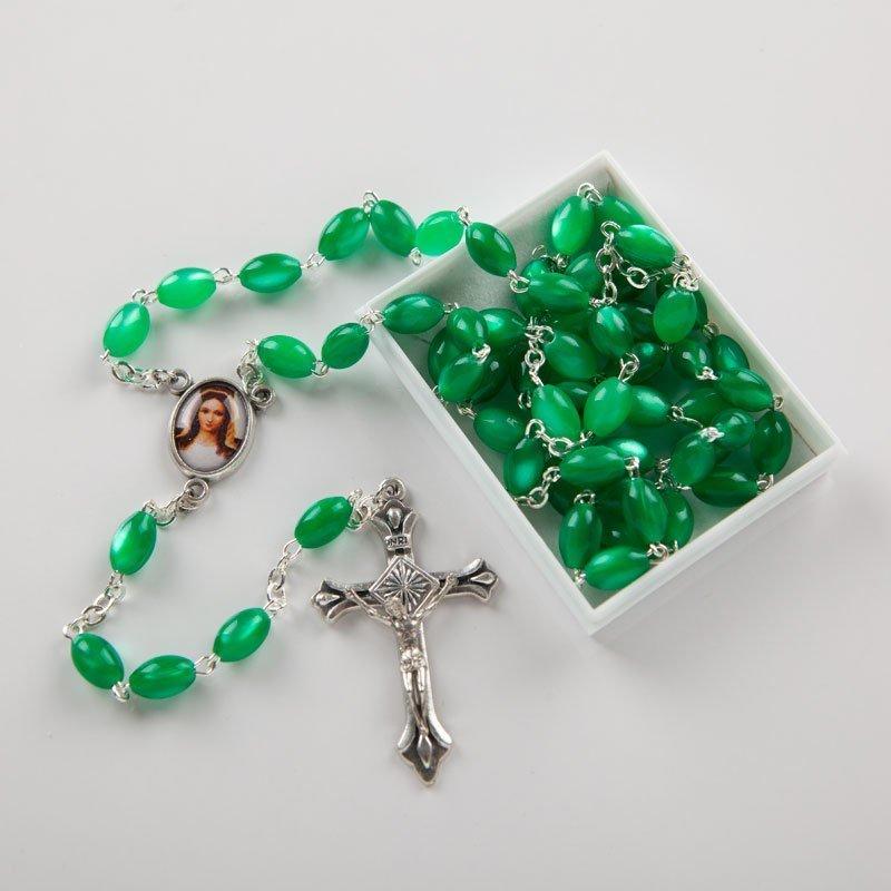 green acrylic rosary