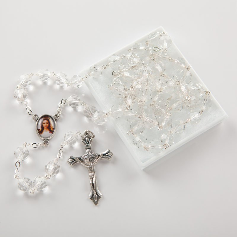 Large hexagonal glass rosary
