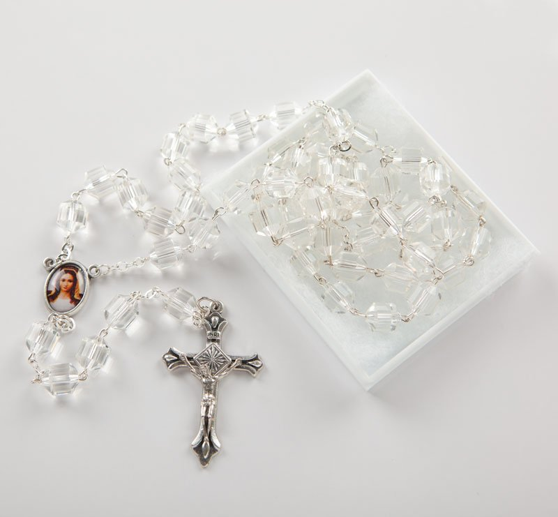 glass rosary with cylindrical bead