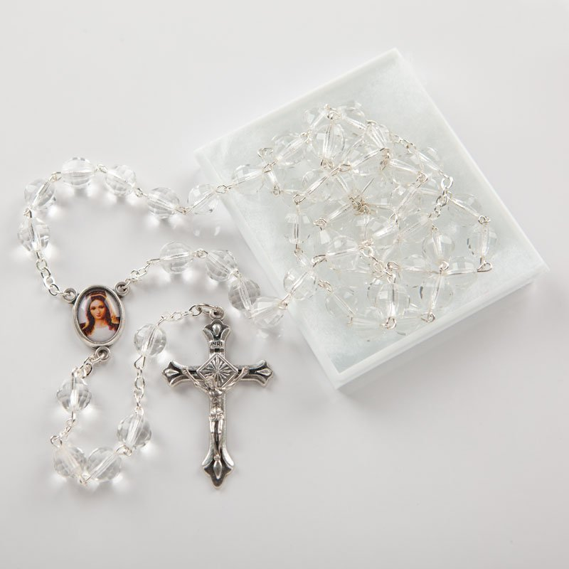 round faceted glass rosary