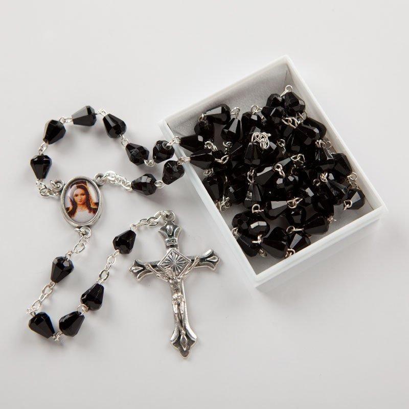 Black acrylic diamond rosary