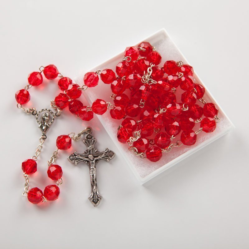 plastic rosary bright red