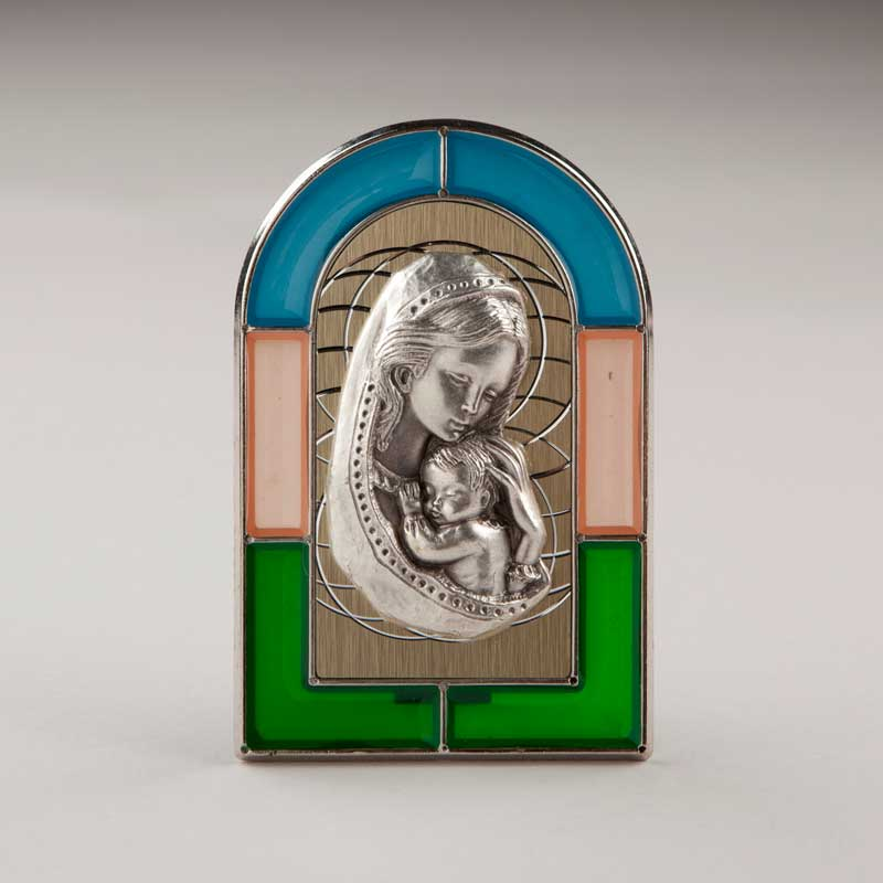 stained-glass-like plaque - virgin and child