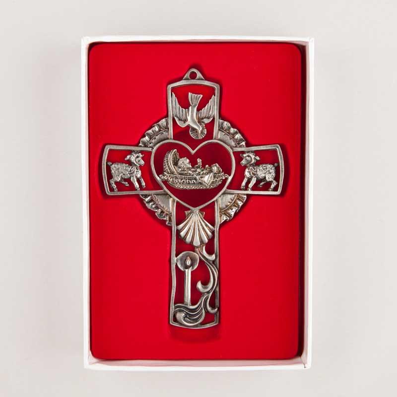 croix en étain pour baptême - boite