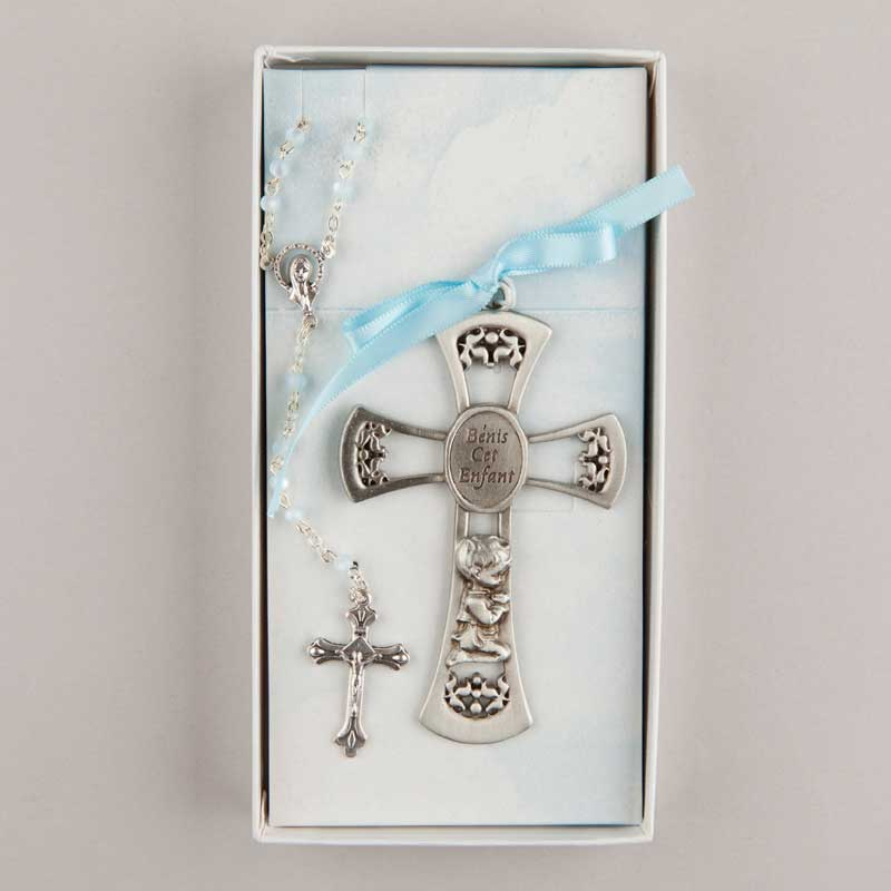 cross and rosary set for baby - blue