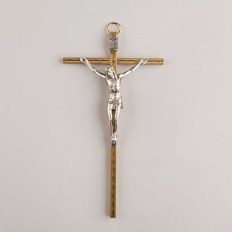 brass crucifix 2-tone - 6 inches