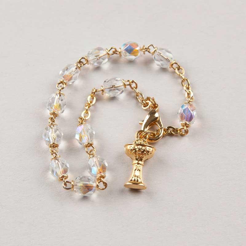 bracelet dizainier première communion cristal - chaîne dorée