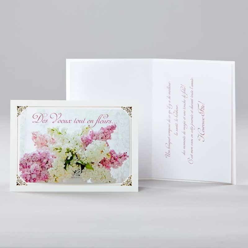 carte anniversaire - lilas en fleurs