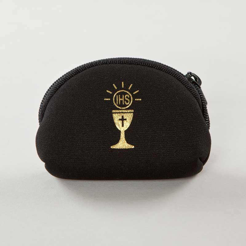 rosary case in black nylon fabric