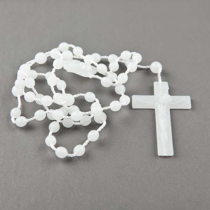 cord rosary - round plastic beads - luminous