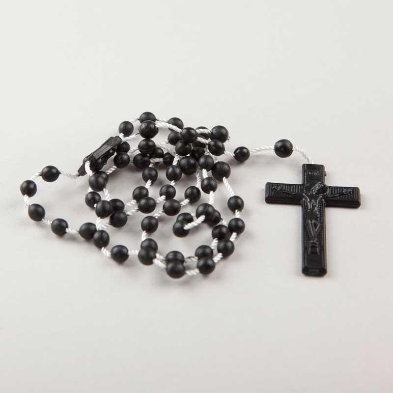 cord rosary - round plastic beads - black