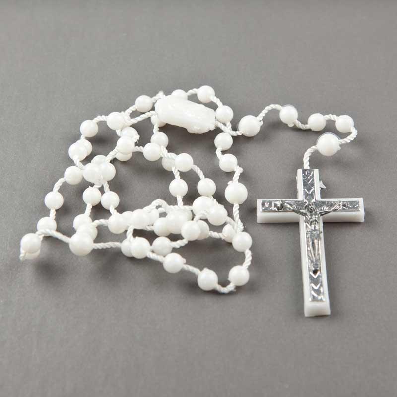 Cord rosary-round plastic beads-white