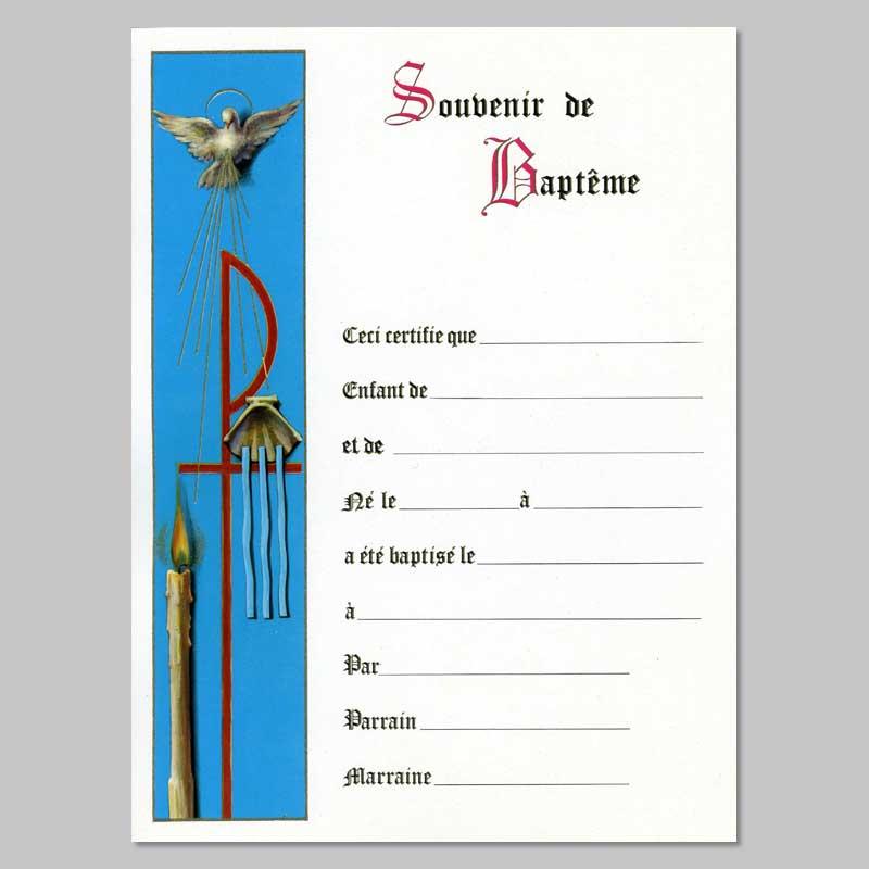 certificat de baptême - colombe et cierge