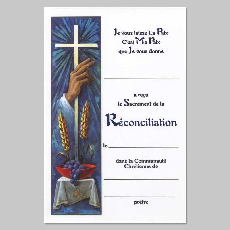 certificat du sacrement de réconciliation - main bénissant