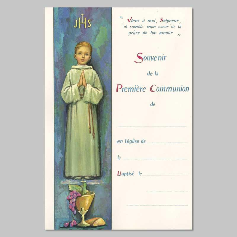 certificat de première communion - garçon