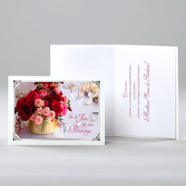 carte de mariage - un bouquet d'amour